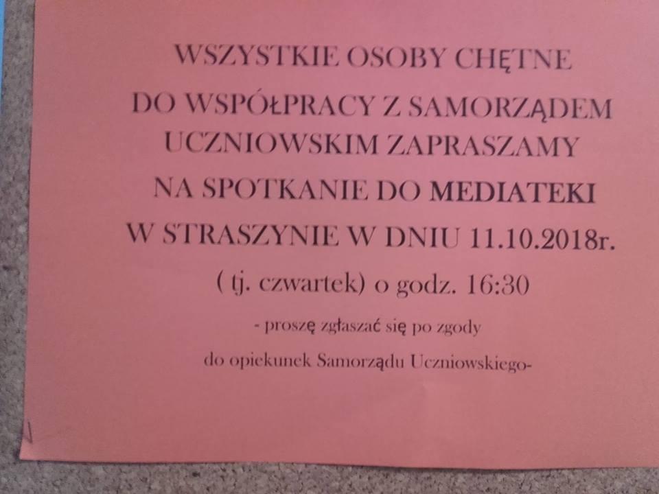 Pierwsze zebranie Samorządu Uczniowskiego.