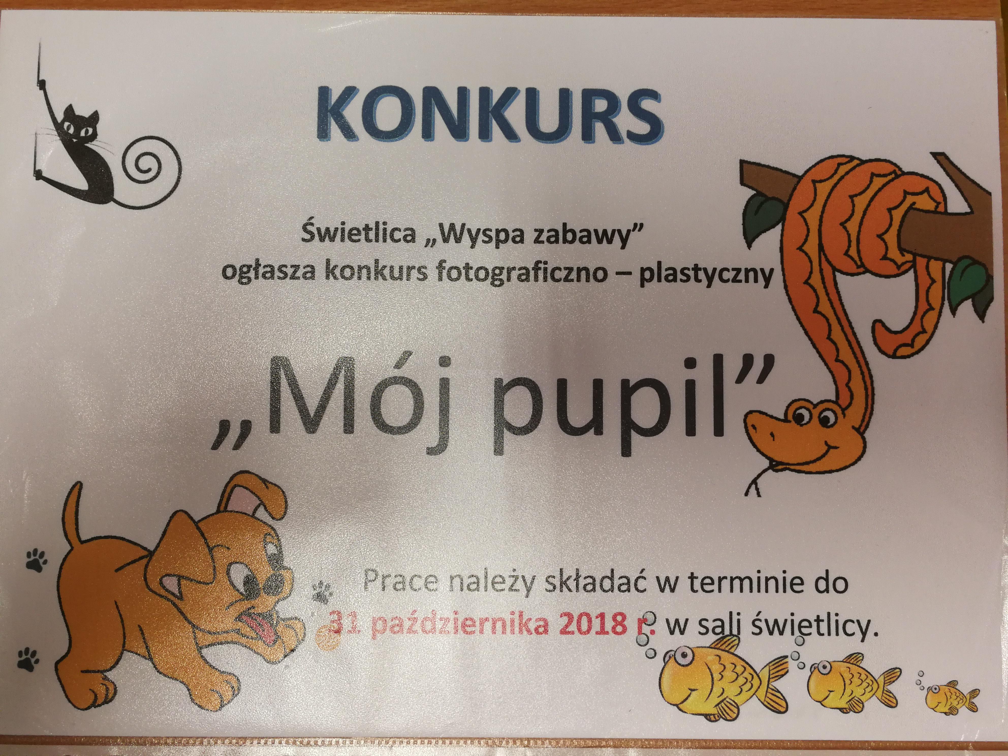 """Uwaga! Uwaga! Świetlica szkolna """"Wyspa Zabawy"""" ogłasza konkurs plastyczno – fotograficzny dla chętnych dzieci z klas I – III 📸 Serdecznie zapraszamy 😁"""