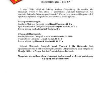 Szkolny Konkurs Ortograficzny dla uczniów klas II i III SP