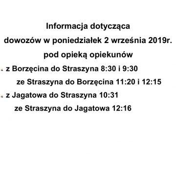 Informacja dotycząca dowozów w poniedziałek 2 września 2019 r.