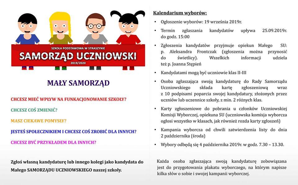 Wybieramy Mały Samorząd. Zapraszamy chętne osoby z klas 2 i 3 edukacji wczesnoszkolnej.