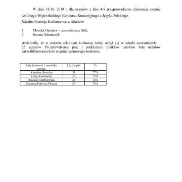 Wojewódzki Konkurs Kuratoryjny z Języka Polskiego  eliminacje stopnia szkolnego