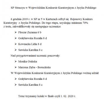 SP Straszyn w Wojewódzkim Konkursie Kuratoryjnym z Języka Polskiego